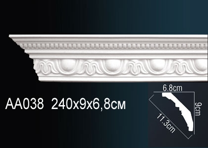 Карниз с орнаментом  Perfect AA038F клей в подарок