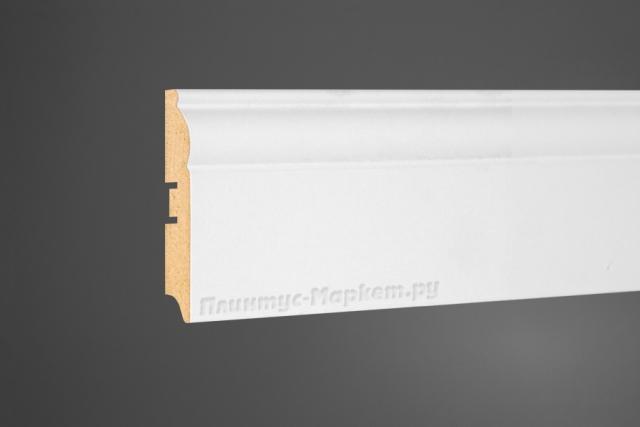 Плинтус МДФ напольный белый Perfect 104-82 клей в подарок