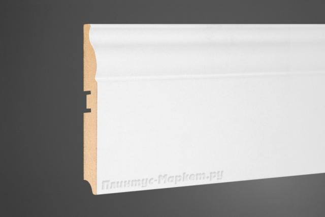 Плинтус МДФ напольный белый Perfect 105-100 клей в подарок