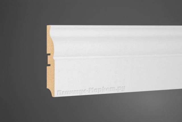Плинтус МДФ напольный белый Perfect 105-82 клей в подарок