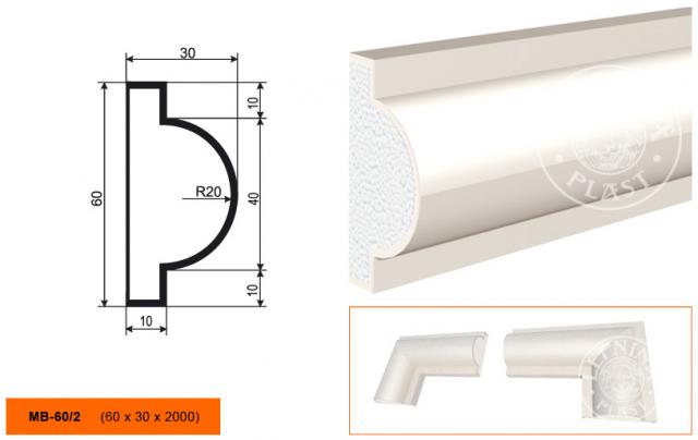 Молдинг полиуретановый Lepninaplast MB-60/2